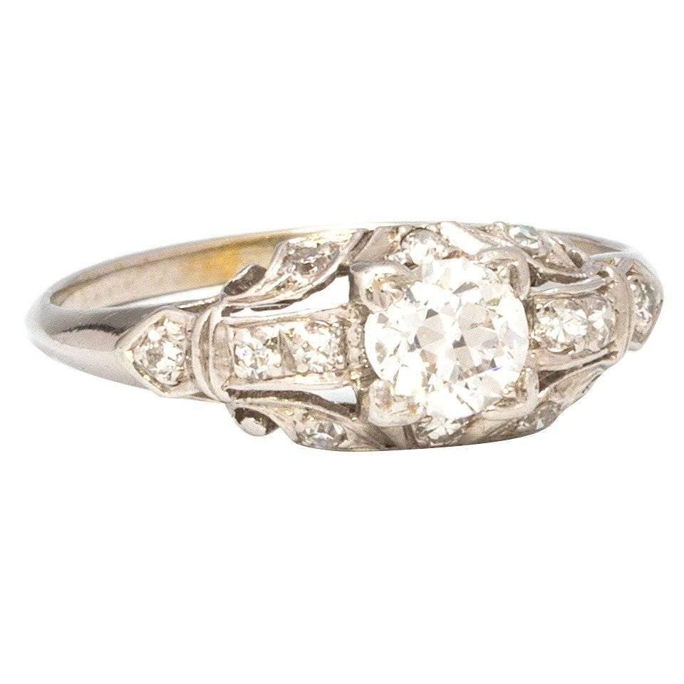 1930S White Gold And Diamond Engagement Ring  (View 3 of 15)
