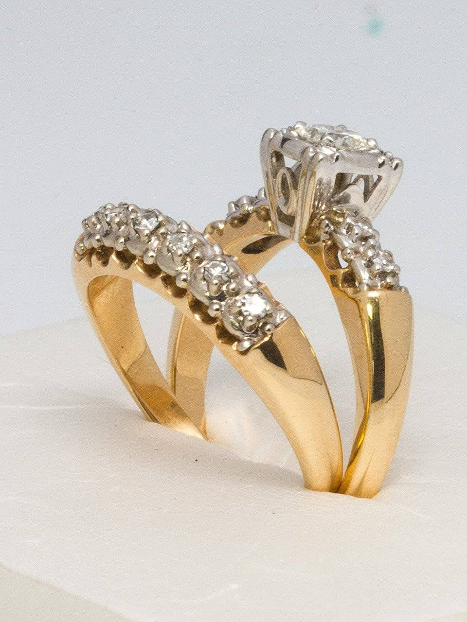 1950S Yellow Gold And Diamond Wedding Ring Set For Sale At 1Stdibs In Newest Yellow Gold Wedding Band Sets (Gallery 1 of 15)