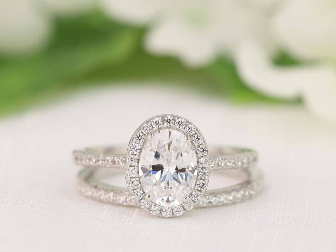 2.0 Carat Halo Wedding Ring Set Oval Cut Ring Halo For Oval Halo Wedding Ring Sets (Gallery 7 of 15)