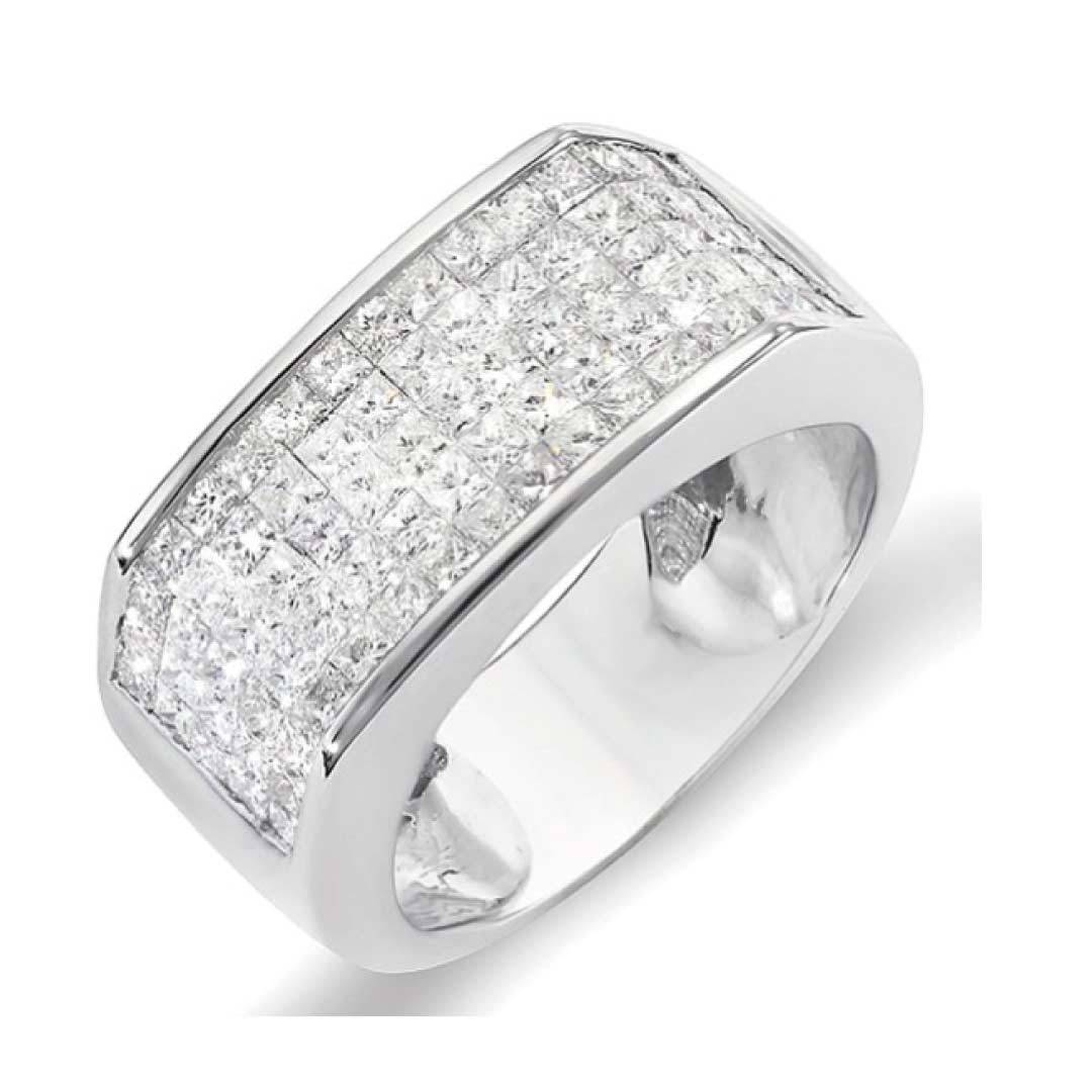 2.00 Carat (Ctw) 14K White Gold Princess Diamond Invisible Set Throughout Mens White Gold Wedding Bands With Diamonds (Gallery 9 of 15)