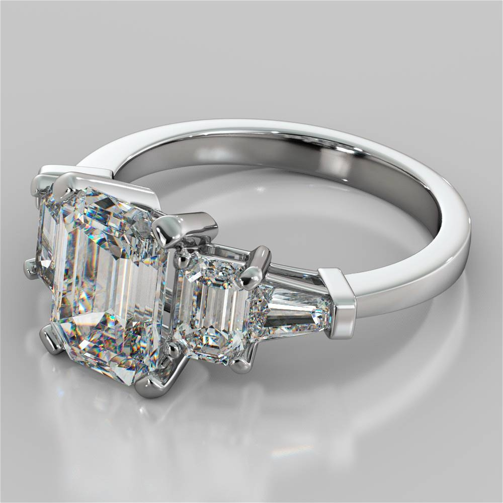 2.31Ct Emerald Cut 5 Stone Engagement Ring With Baguette Accents Within Five Diamond Engagement Ring (Gallery 3 of 15)
