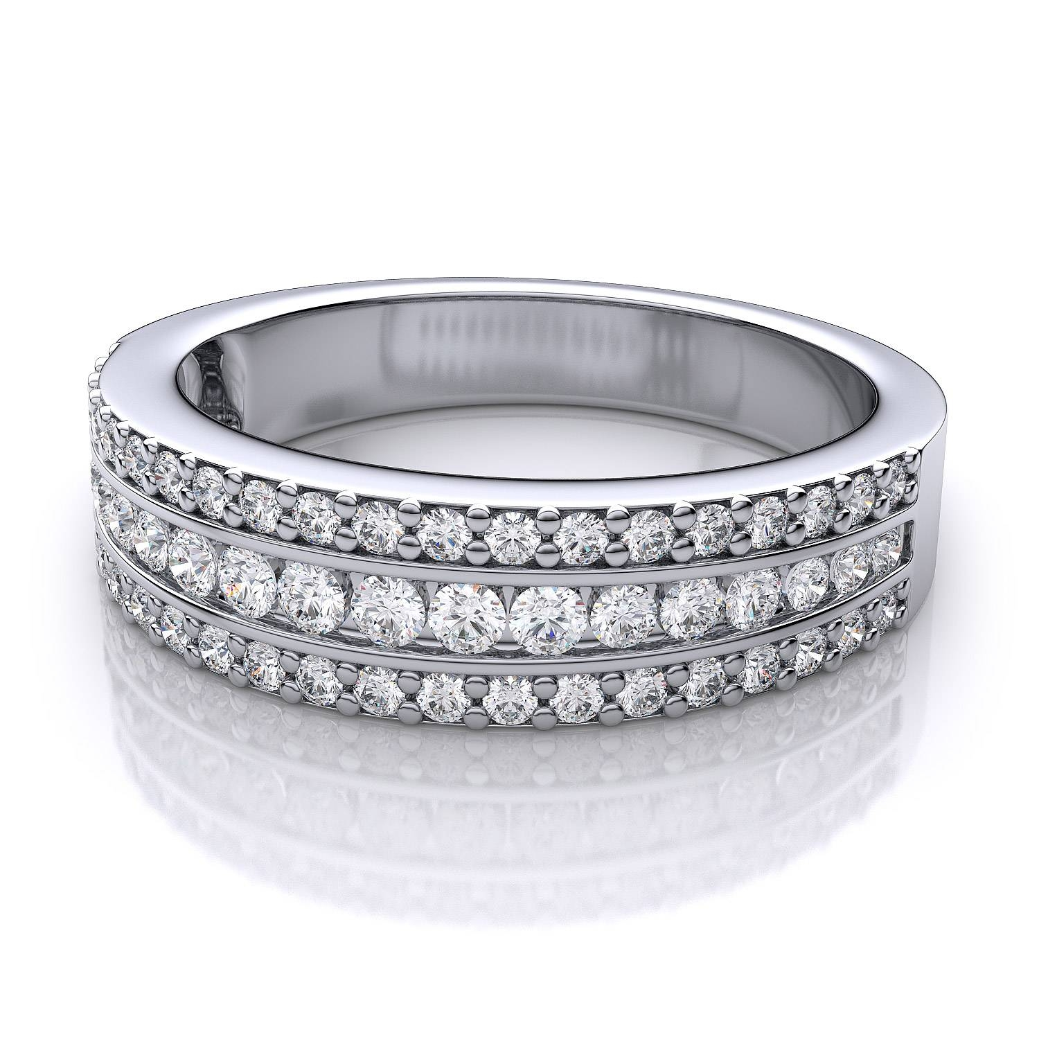 2.6Mm Three Row Pave Round Diamond Wedding Or Anniversary Ring In With Regard To Newest Pave White Gold Diamond Wedding Bands (Gallery 11 of 15)