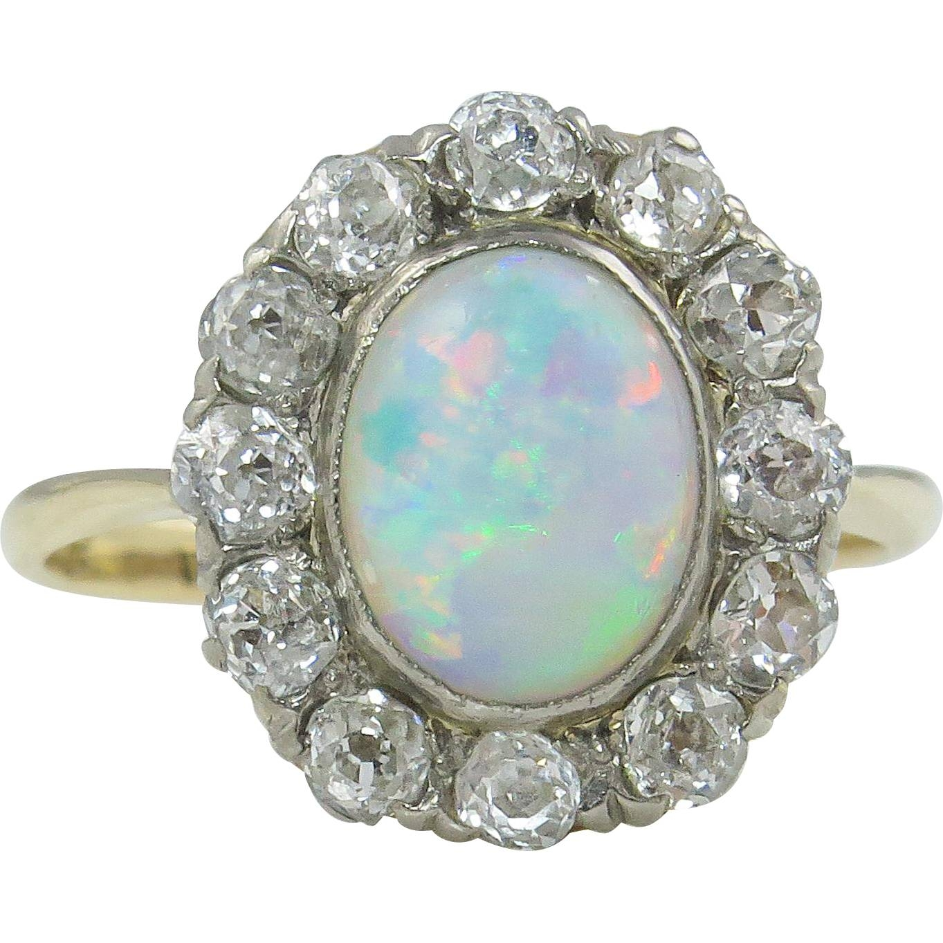 2.73Ct Antique Vintage Australian Opal Diamond Engagement Wedding Within Australia Opal Engagement Rings (Gallery 7 of 15)
