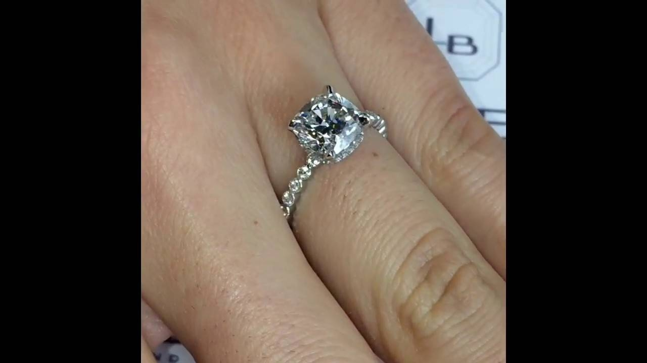 2 Carat Cushion Cut Diamond Engagement Ring – Youtube Intended For 2 Karat Cushion Cut Engagement Rings (Gallery 6 of 15)