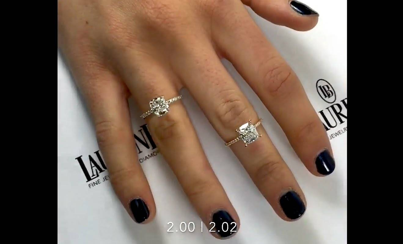 2 Carat Cushion Cut Diamonds Comparison: D And F Color – Youtube With Regard To 2 Karat Cushion Cut Engagement Rings (View 3 of 15)
