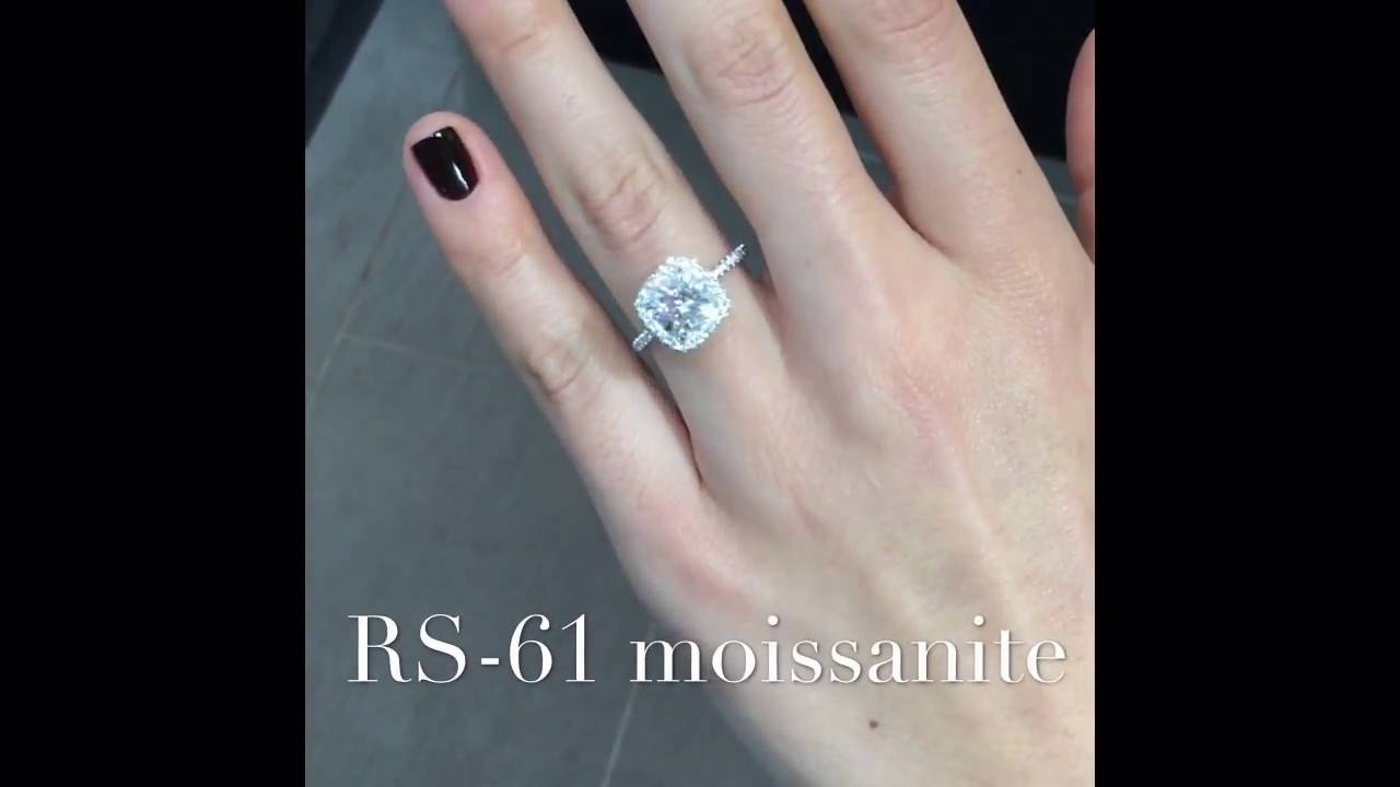 2 Carat Cushion Cut Moissanite Halo Engagement Ring – Youtube In 2 Karat Cushion Cut Engagement Rings (View 8 of 15)