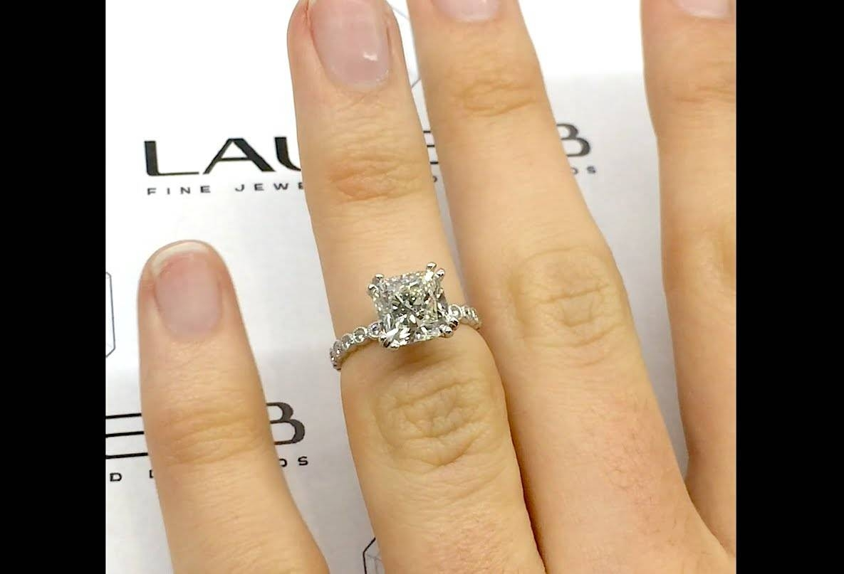 2 Carat Cushion Engagement Ring In Vintage Style – Youtube Inside 2 Karat Cushion Cut Engagement Rings (View 14 of 15)