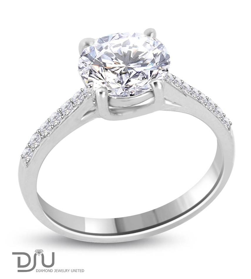2 Carat D Vs1 Round Solitaire Diamond Engagement Ring Set In 14 Pertaining To Round Solitaire Engagement Ring Settings (Gallery 10 of 15)
