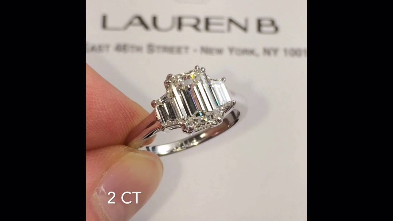 2 Carat Emerald Cut 3 Stone Engagement Ring – Youtube Within 3 Ct Emerald Cut Engagement Rings (View 1 of 15)