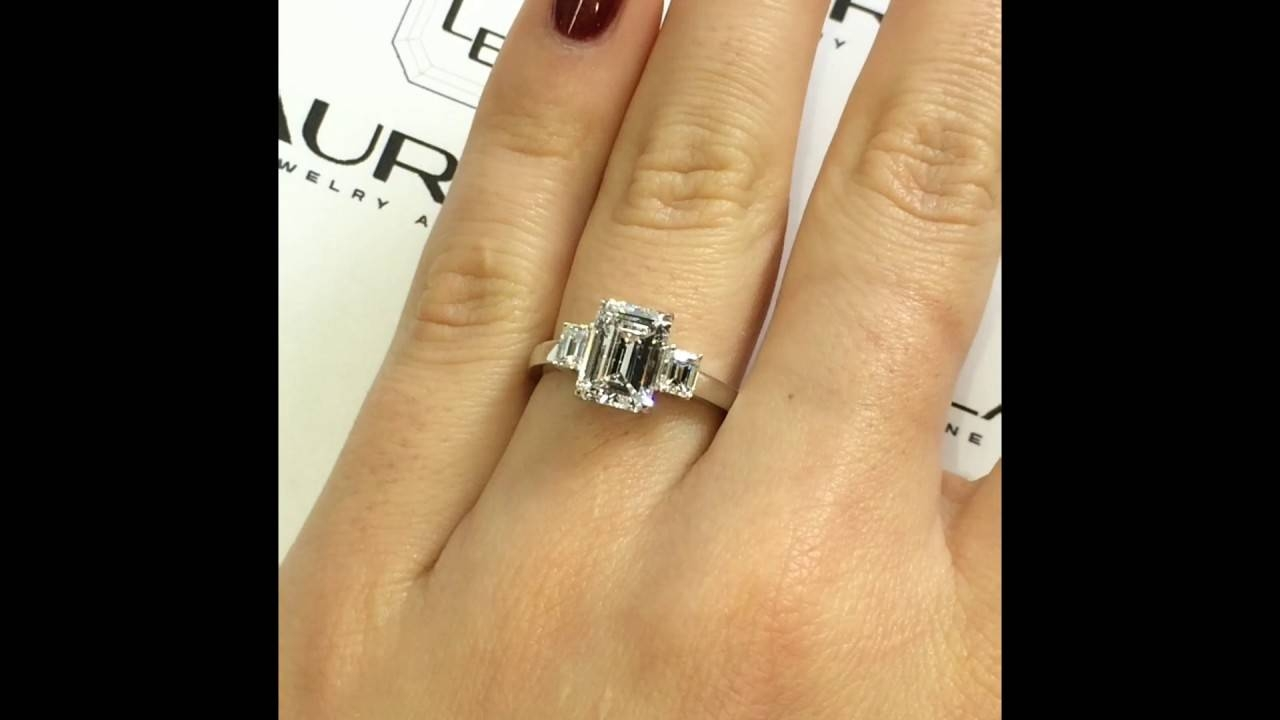 2 Carat Emerald Cut Diamond 3 Stone Engagement Ring – Youtube For 3 Ct Emerald Cut Engagement Rings (View 2 of 15)