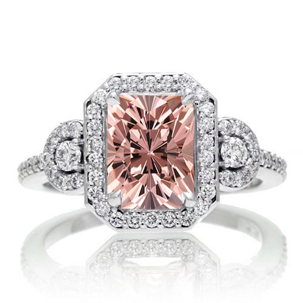2 Carat Emerald Cut Morganite And White Diamond Halo Engagement Regarding 10k Diamond Engagement Rings (Gallery 15 of 15)