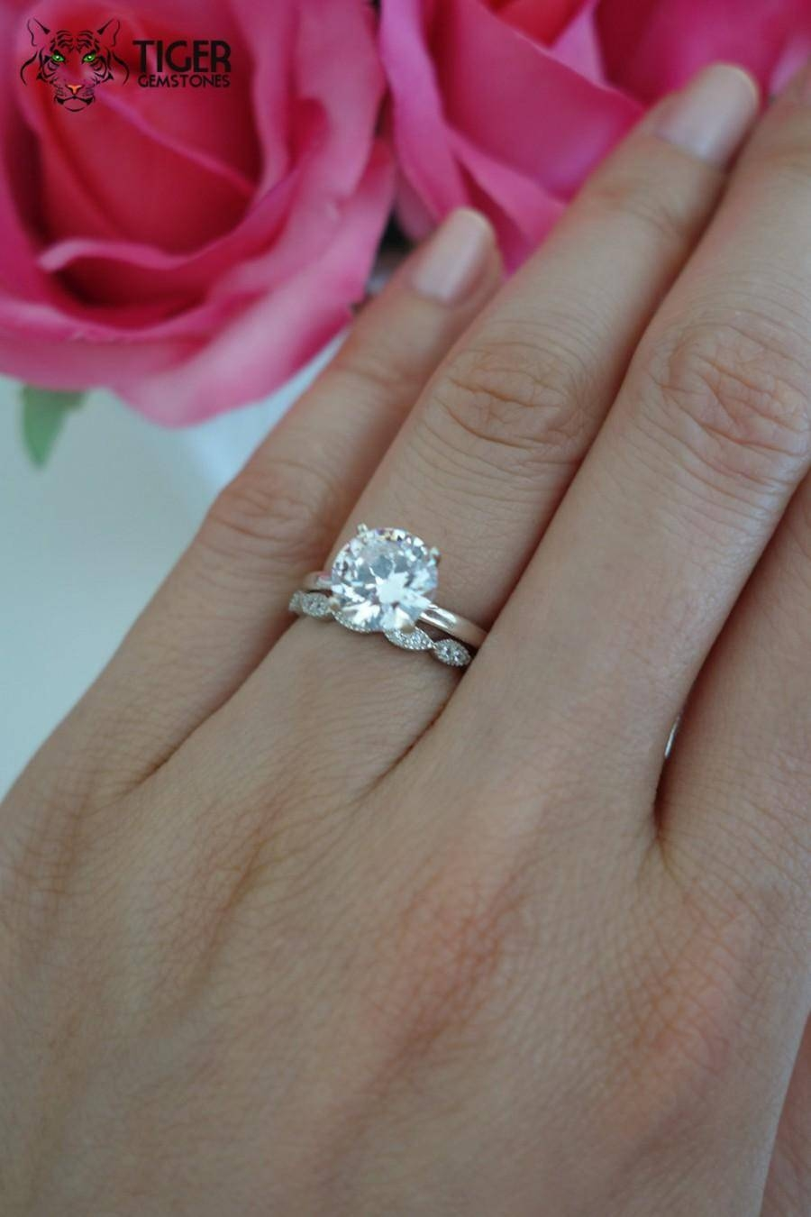 2 Carat Engagement Ring Cost Tags : 2 Ct Wedding Rings Womens With Regard To Wedding Bands For Round Solitaire Engagement Ring (Gallery 11 of 15)