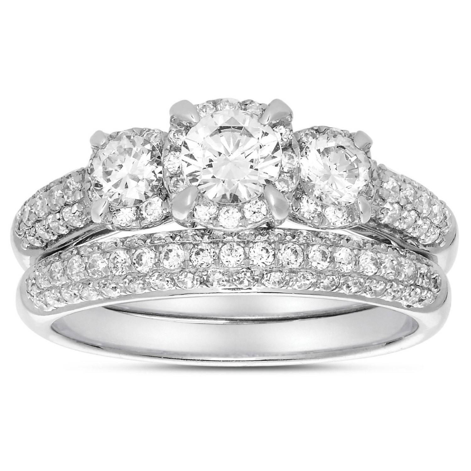 2 Carat Three Stone Trilogy Round Diamond Wedding Ring Set In Throughout Cheap White Gold Wedding Rings (View 3 of 15)