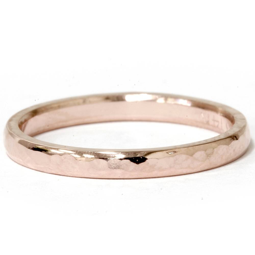 2 Mm 14k Oro Rosa Banda De Boda Apilable Martillado | Ebay For Most Recently Released 2mm Rose Gold Wedding Bands (View 12 of 15)