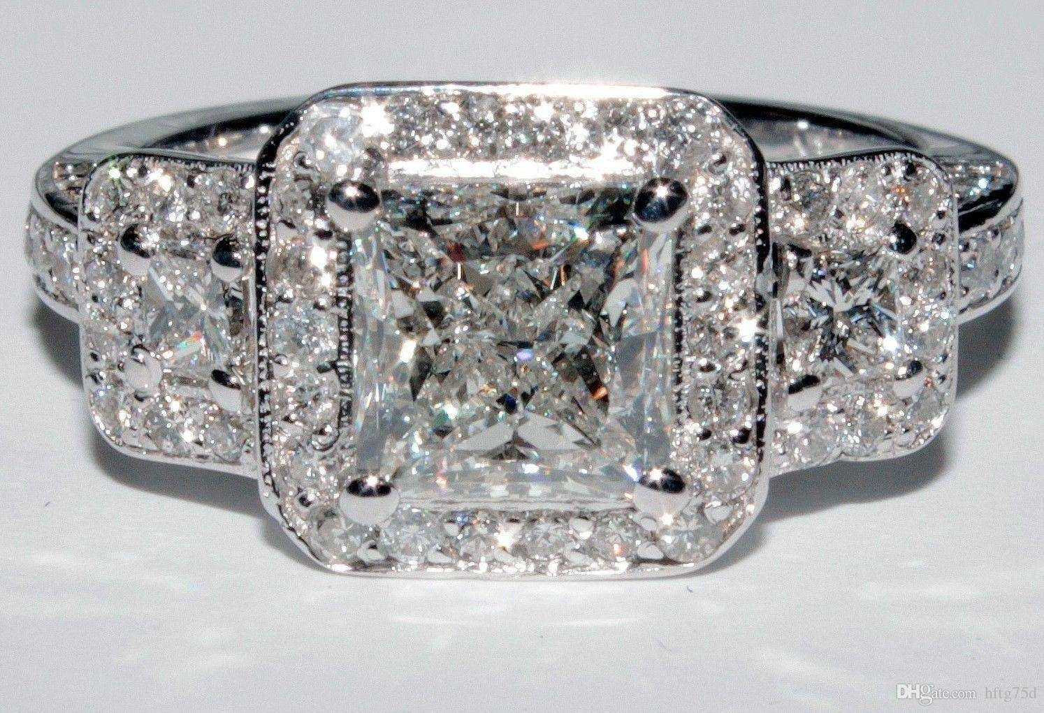 2017 Gia 3 Stone Princess Cut Halo Diamond Engagement Ring  (View 2 of 15)