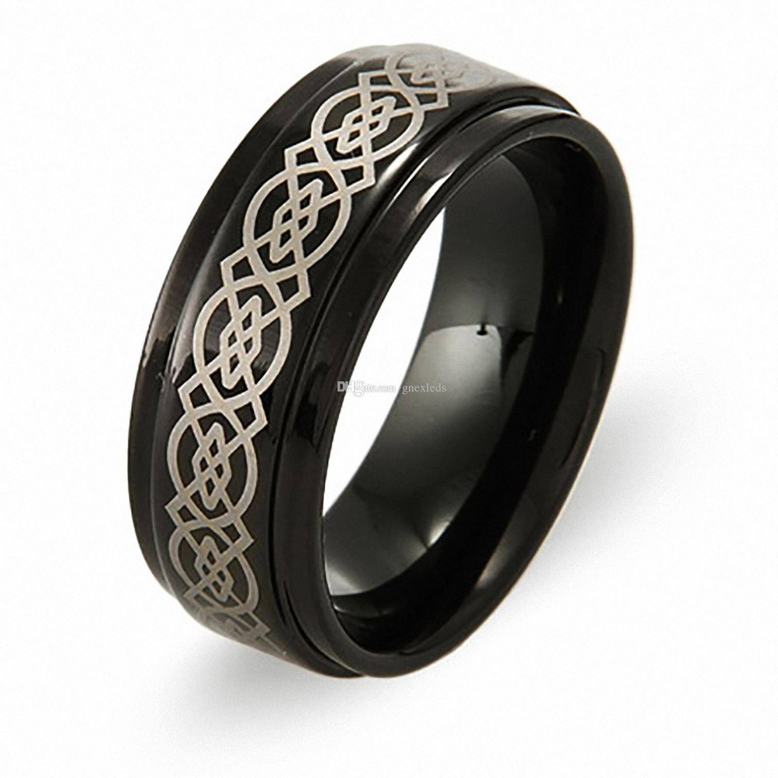 2017 Mens 8Mm Irish Black Tungsten Wedding Bands Celtic Design Within Black Metal Wedding Bands (View 1 of 15)