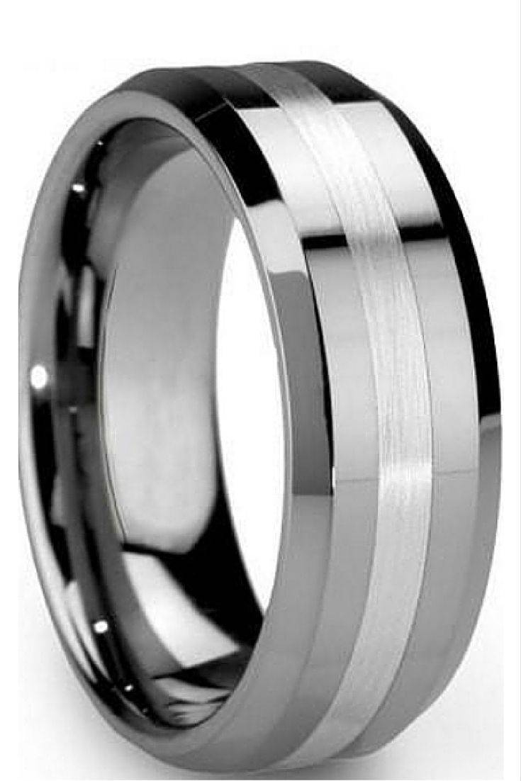 2017 Popular Black And Silver Men's Wedding Bands With Silver Wedding Bands For Him (View 2 of 15)