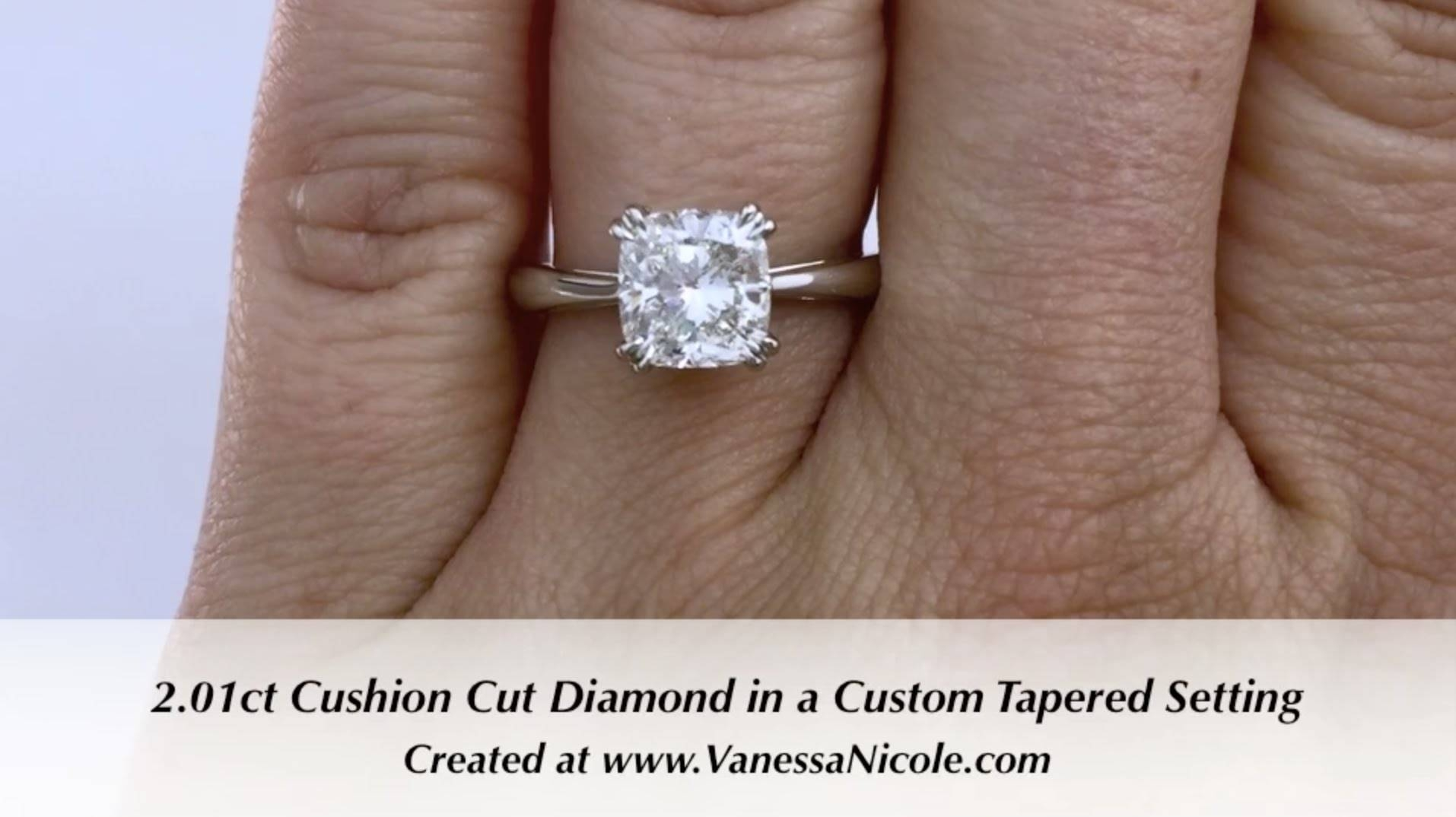 2ct Cushion Cut Solitaire Ring – Ivette's 2ct Cushion Cut Within 2 Karat Cushion Cut Engagement Rings (View 13 of 15)