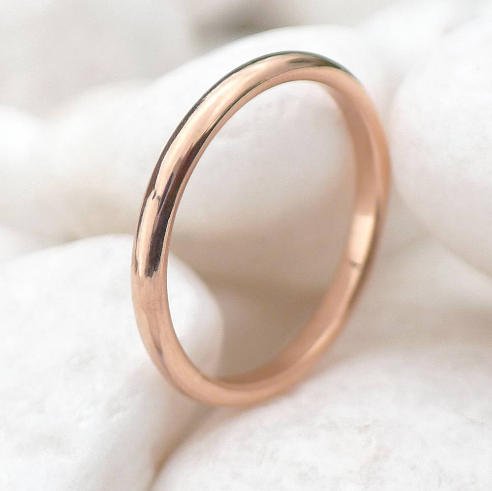 2mm Half Round Rose Gold Wedding Ring | Wedding Bands | Lilia Nash Inside Most Popular 2mm Rose Gold Wedding Bands (View 5 of 15)