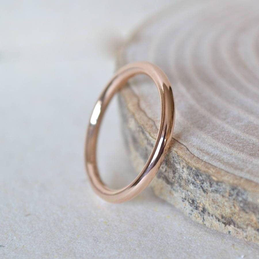2Mm Rose Gold Wedding Bandnotes Jewellery | Notonthehighstreet In Newest Rose Gold Platinum Wedding Bands (Gallery 4 of 15)