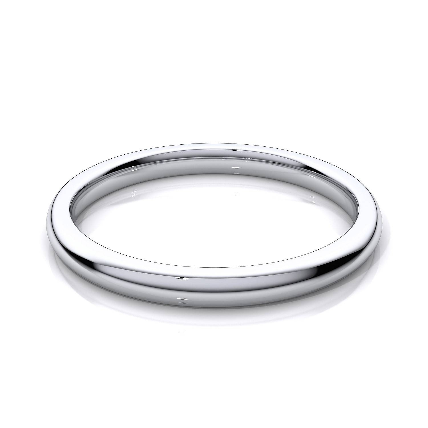 2Mm Womens Comfort Fit Plain Wedding Band In 14K White Gold Regarding
