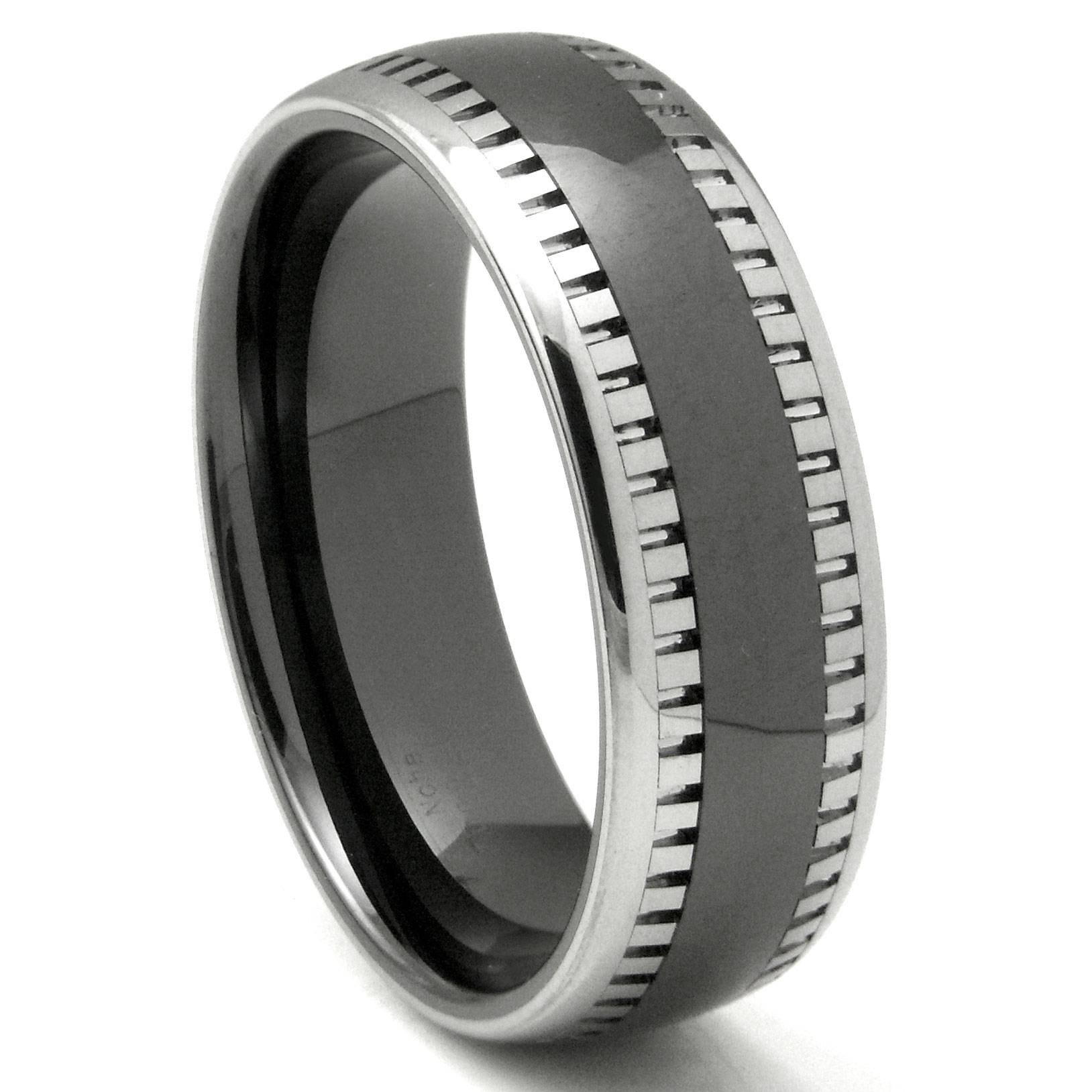 2Nd Generation Tungsten Carbide Two Tone Milgrain Dome Wedding With Black Metal Wedding Bands (View 2 of 15)