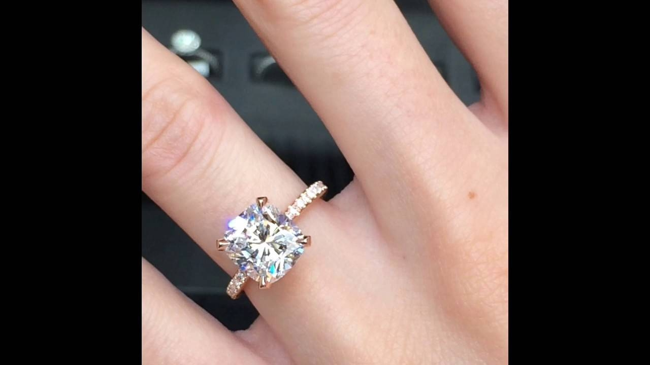 3 Carat Cushion Cut Diamond Engagement Ring In Rose Gold – Youtube Throughout 2 Karat Cushion Cut Engagement Rings (View 4 of 15)