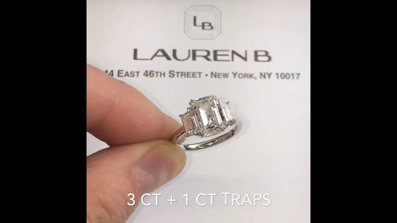 3 Carat Emerald Cut Diamond 3 Stone Engagement Ring – Youtube Intended For 3 Ct Emerald Cut Engagement Rings (View 3 of 15)
