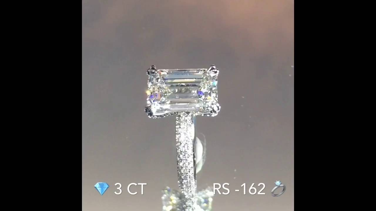 3 Carat Emerald Cut Diamond Engagement Ring – Youtube Inside 3 Ct Emerald Cut Engagement Rings (View 4 of 15)