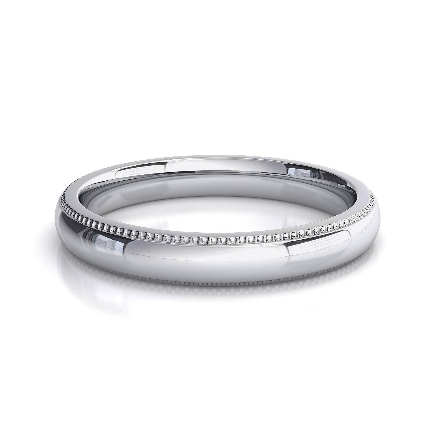 3 Mm Comfort Fit Milgrain Women's Plain Wedding Band In 14K White Gold Inside White Gold Plain Wedding Bands (View 2 of 15)