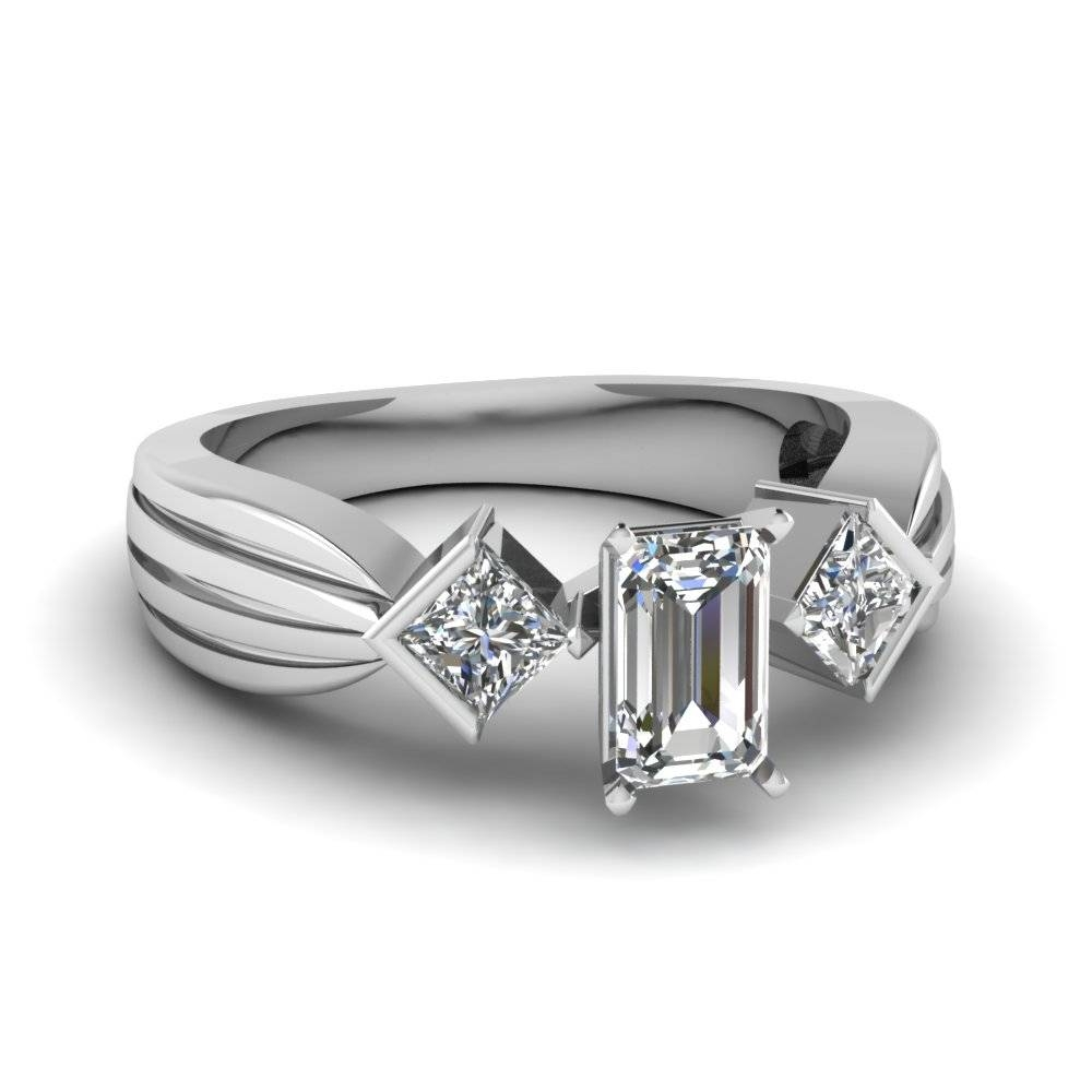 3 Stone Diamond Band With Emerald Cut Ring Sets For Women In White In 3 Stone Emerald Cut Diamond Engagement Rings (Gallery 14 of 15)