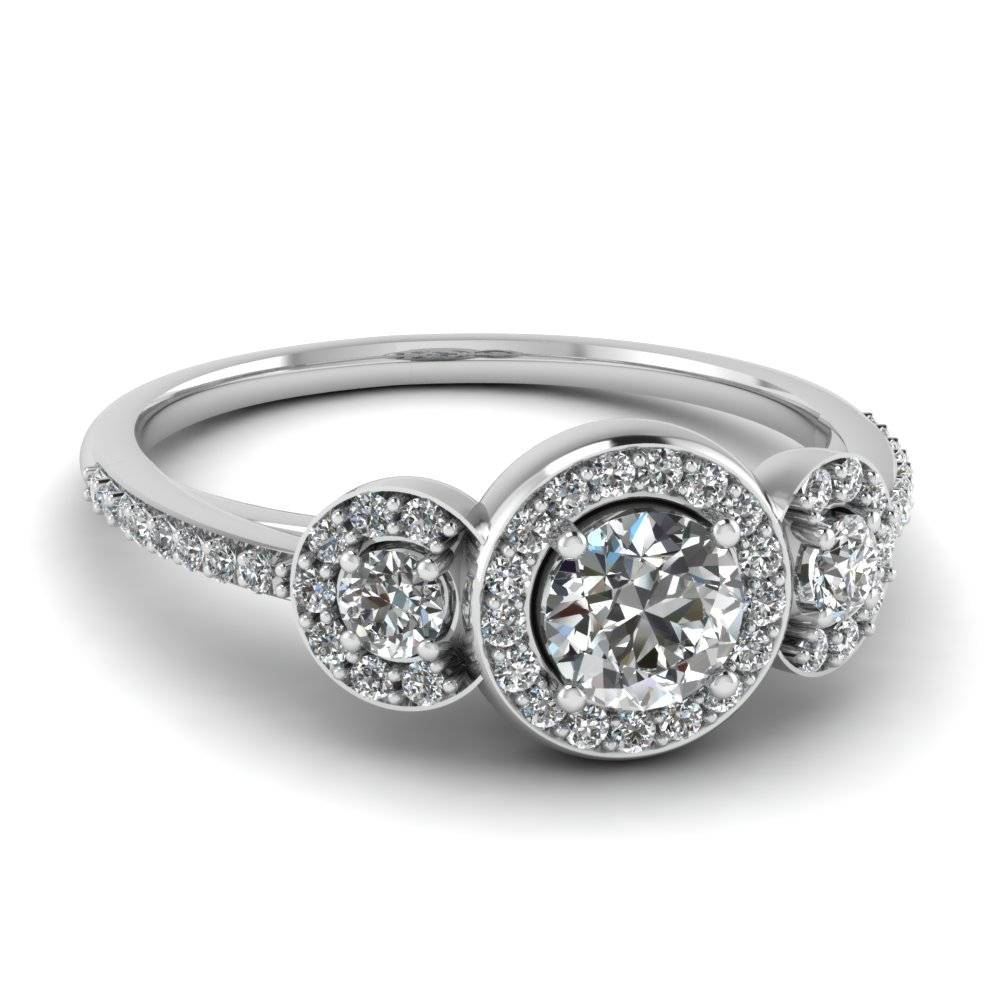 3 Stone Diamond Petite Halo Vintage Wedding Ring In 14K White Gold With Regard To 3 Stone Platinum Engagement Rings (View 1 of 15)