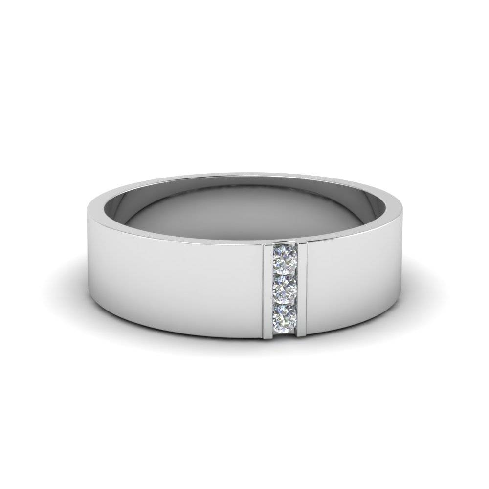 3 Stone Diamond Wedding Anniversary Band For Men In 950 Platinum Throughout Mens White Gold Wedding Bands With Diamonds (View 14 of 15)
