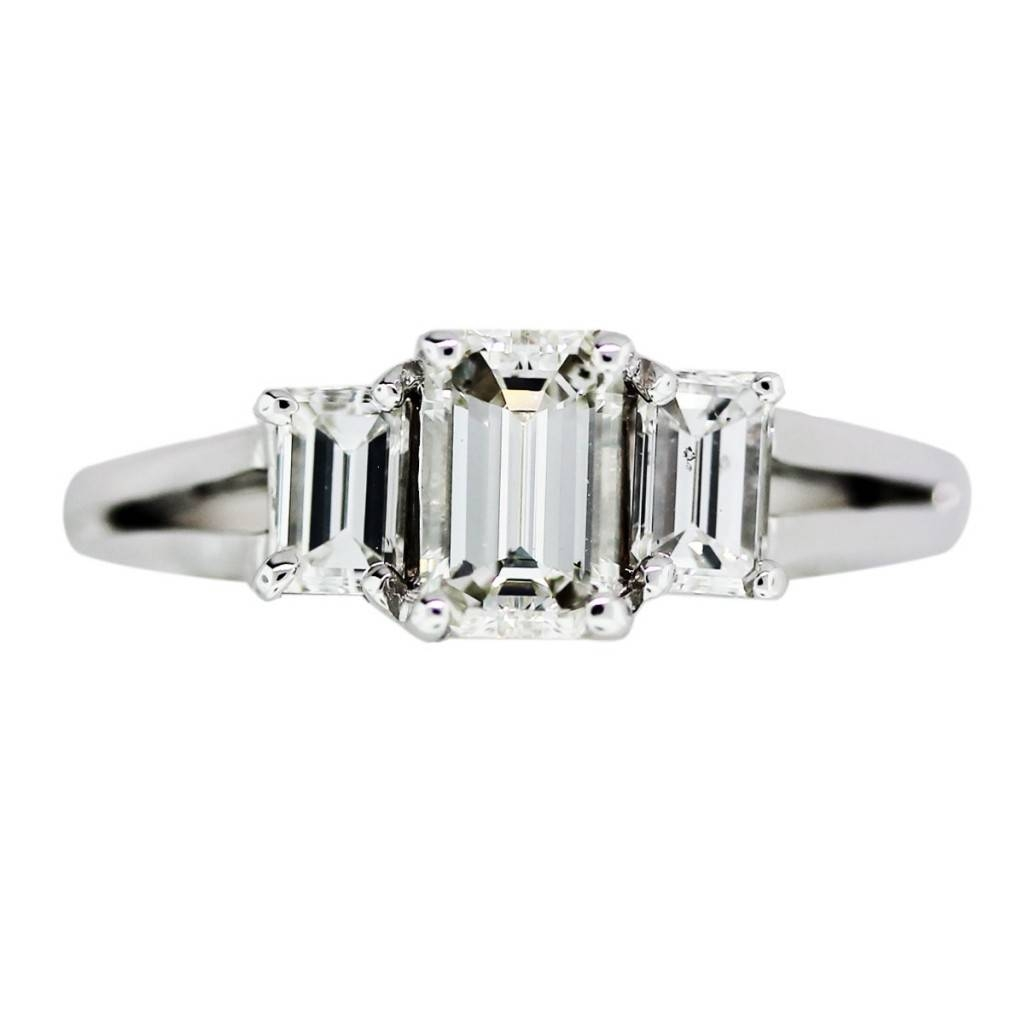 3 Stone Emerald Cut Diamond Enement Ring Enement Ring 3 Stone Intended For Emerald Cut Three Stone Diamond Engagement Rings (View 2 of 15)