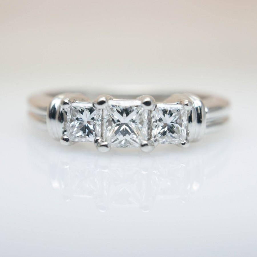 3 Stone Princess Cut Diamond Engagement Ring Wedding Ring 14K With Regard To Three Stone Engagement Rings With Wedding Band (Gallery 13 of 15)