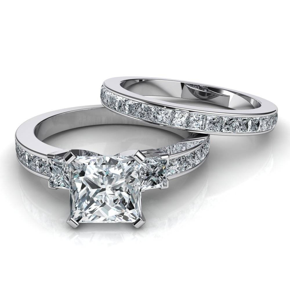 3 Stone Princess Cut Engagement Ring & Wedding Band Bridal Set Inside 3 Band Engagement Rings (Gallery 13 of 15)