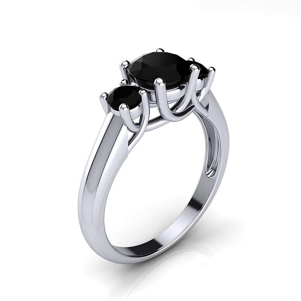 3 Stone Rings: Past Present Future Black Diamond Engagement Ring Inside Black Stone Wedding Rings (Gallery 13 of 15)