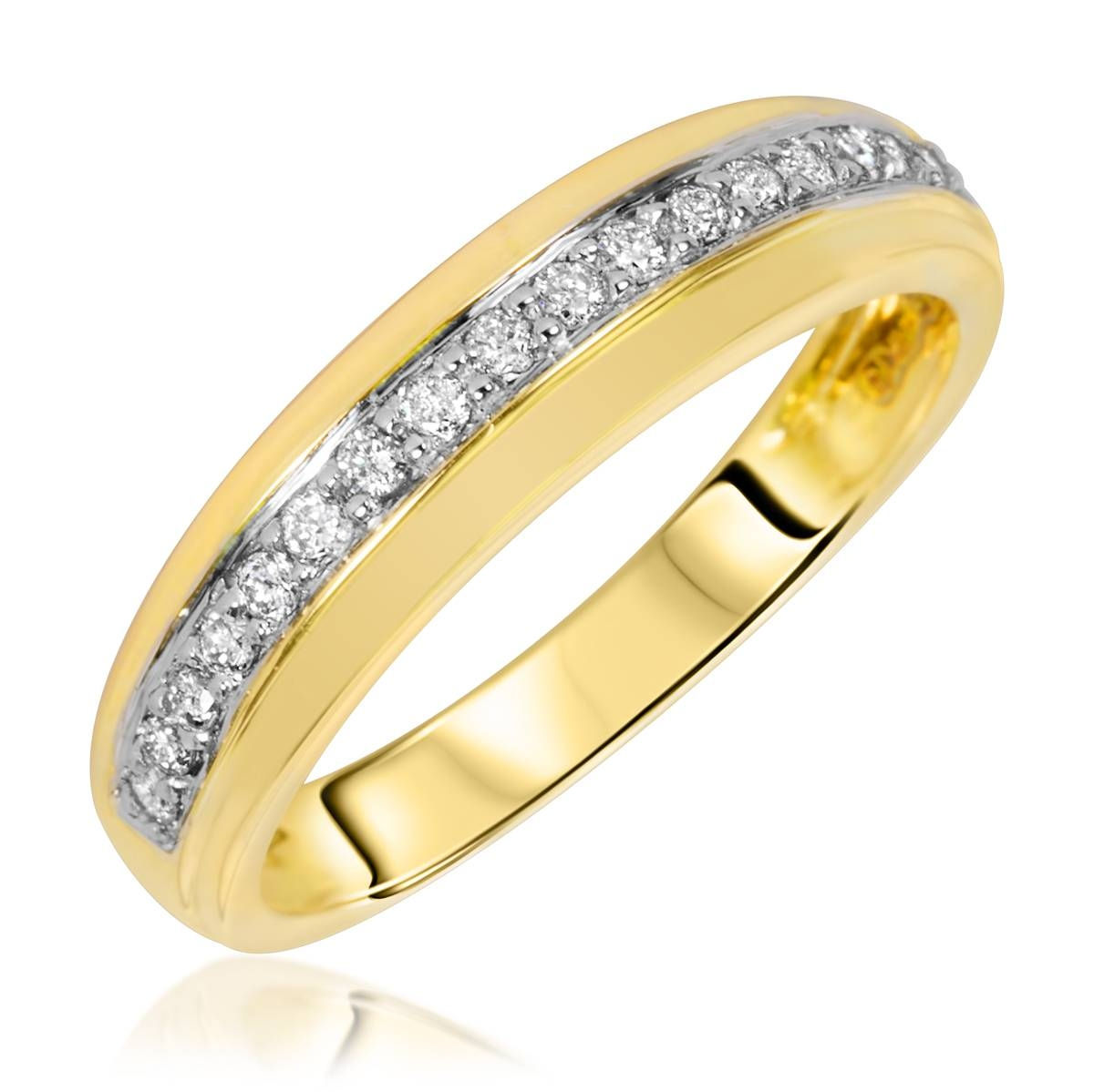 3/4 Carat Diamond Trio Wedding Ring Set 14K Yellow Gold Inside Yellow Gold Wedding Rings For Women (View 5 of 15)
