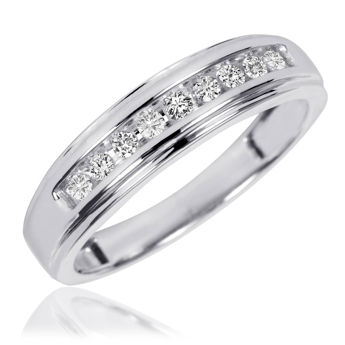3/4 Ct. T.w. Diamond Trio Matching Wedding Ring Set 10K White Gold In White Gold Wedding Bands Rings (Gallery 15 of 15)