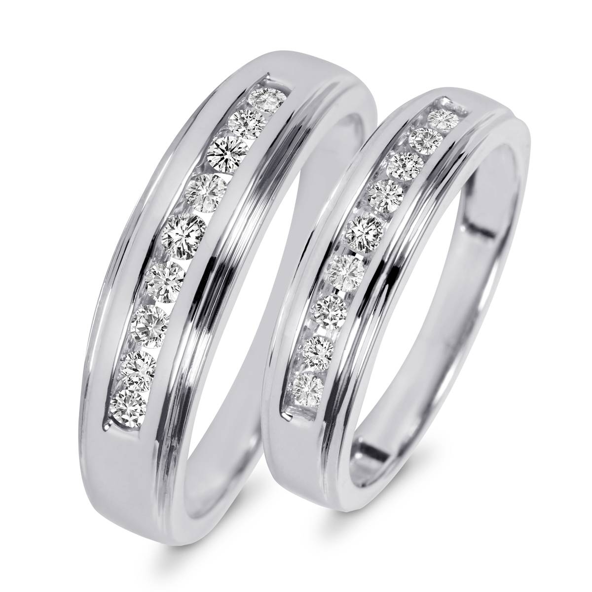 3/8 Carat T.w. Diamond His And Hers Wedding Band Set 14K White Gold Regarding His And Her Wedding Bands Sets (Gallery 2 of 15)