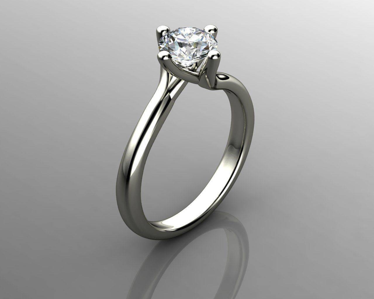 3D Print Model Solitaire Diamond Engagement Rings With Solitare Diamond Engagement Rings (View 1 of 15)