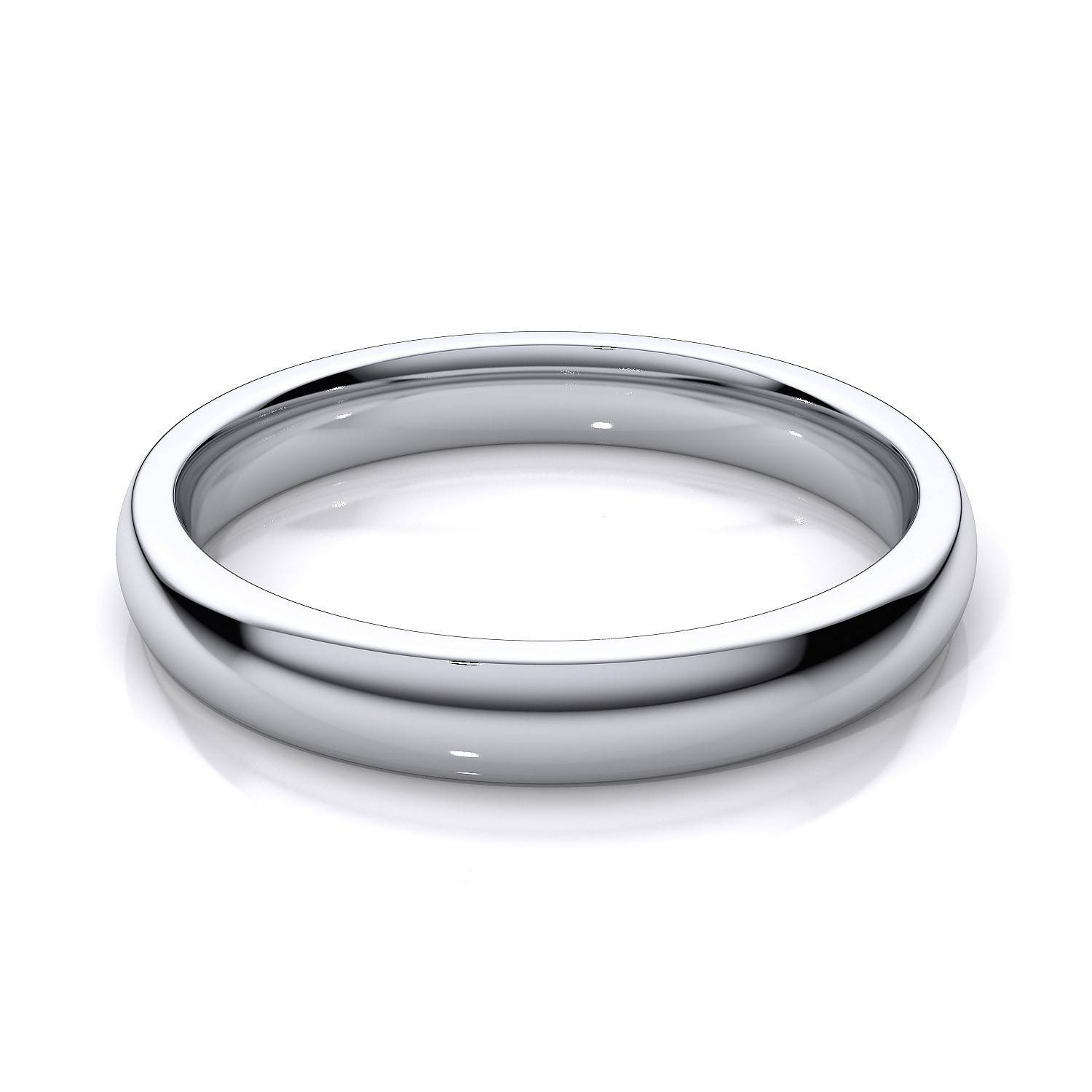 3Mm Women's Comfort Fit Plain Wedding Band In 14K White Gold Regarding White Gold Plain Wedding Bands (View 3 of 15)
