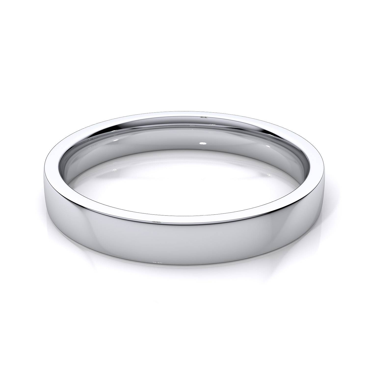 3Mm Women's Flat Comfort Fit Wedding Band In 18K White Gold Within Most Popular Plain Wedding Bands For Women (View 2 of 15)