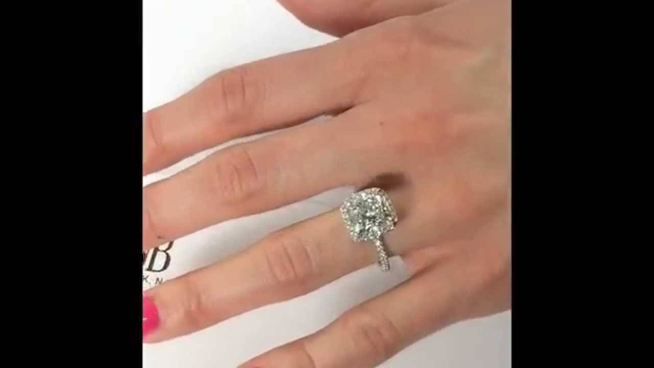 4 Carat Cushion Cut Diamond Halo Engagement Ring – Youtube Throughout 2 Karat Cushion Cut Engagement Rings (View 12 of 15)