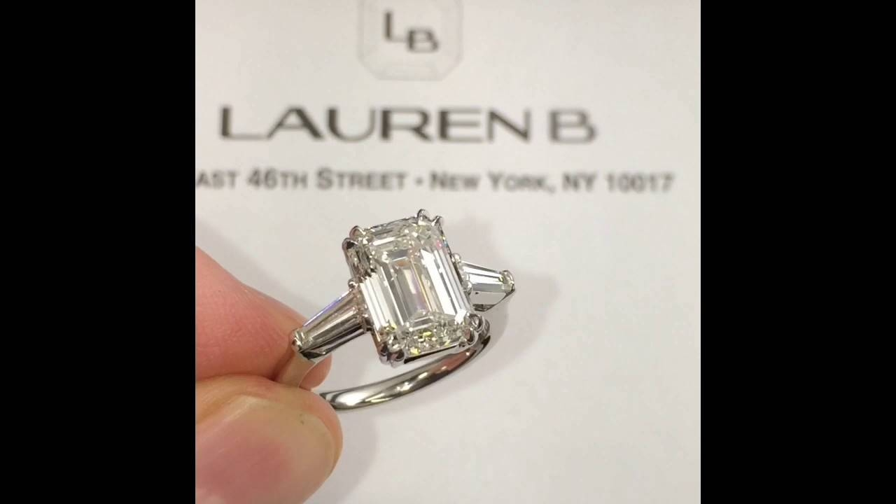 4 Carat Emerald Cut Diamond 3 Stone Engagement Ring – Youtube With Regard To 3 Ct Emerald Cut Engagement Rings (View 7 of 15)