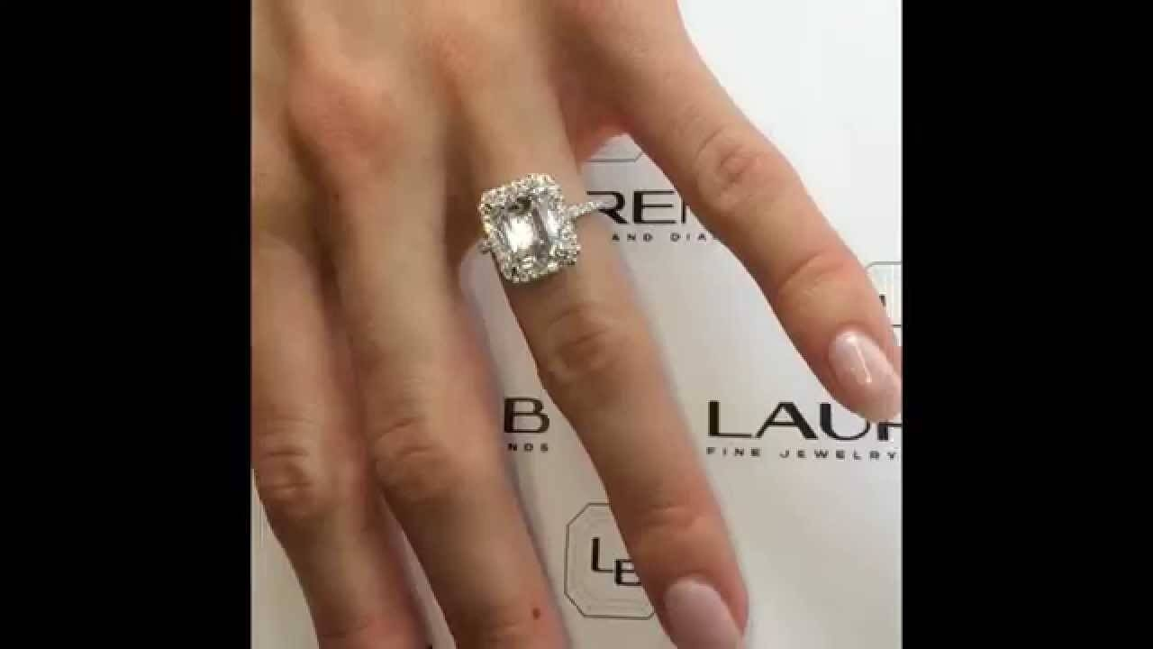 4 Carat Emerald Cut Diamond Ring In Cathedral Halo – Youtube For 3 Ct Emerald Cut Engagement Rings (Gallery 9 of 15)