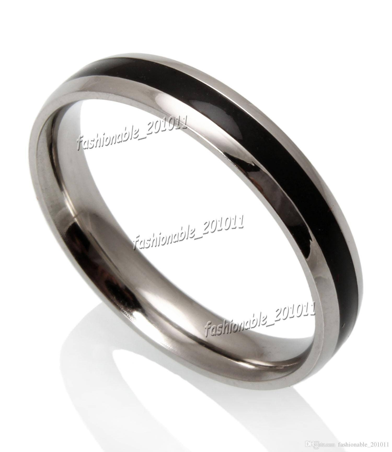 4Mm Black Enamel Dome Top Stainless Steel Fashion Women Mens With Regard To 4Mm Mens Wedding Bands (View 2 of 15)