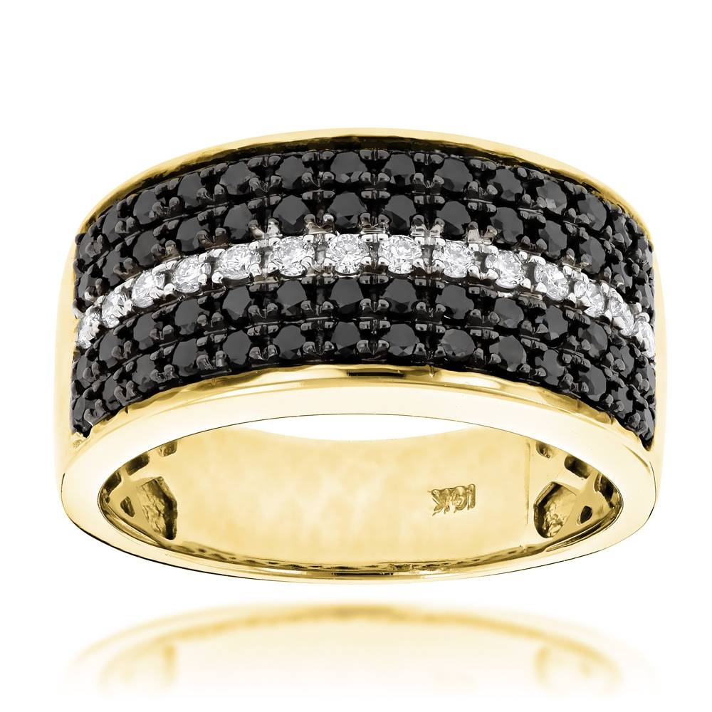 5 Row White Black Diamond Wedding Band For Menluxurman  (View 3 of 15)