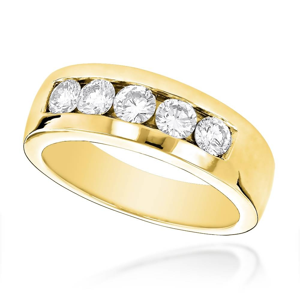 5 Stone 14K Gold Mens Diamond Wedding Band 1Ct With Mens Yellow Gold Wedding Bands With Diamonds (Gallery 2 of 15)