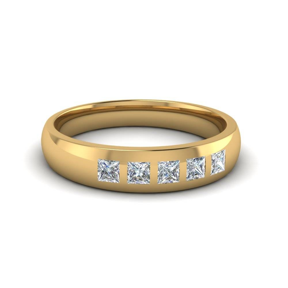 5 Stone Flush Set Diamond Wedding Band For Men In 18K Yellow Gold Inside Most Recent Mens 5 Diamond Wedding Bands (View 4 of 15)